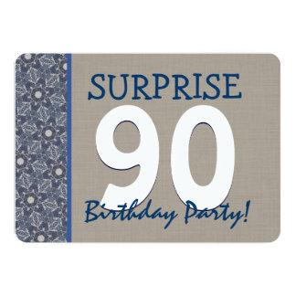 Anniversaire moderne 2 de surprise de bleu et de carton d'invitation  12,7 cm x 17,78 cm