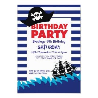 Anniversaire nautique de garçons de bateau de carton d'invitation  12,7 cm x 17,78 cm