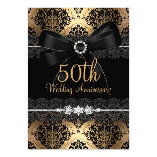 Anniversaire noir élégant 2 d'or cinquantième carton d'invitation  12,7 cm x 17,78 cm