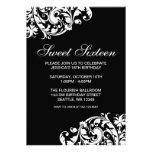 Anniversaire noir et blanc du bonbon 16 à Flourish Invitation