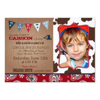 Anniversaire occidental de thème de bandanna rouge carton d'invitation  12,7 cm x 17,78 cm