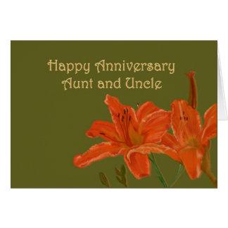 Anniversaire orange d'hémérocalles carte de vœux