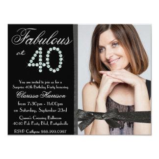Anniversaire ouvrier de 40 photos de diamant carton d'invitation 10,79 cm x 13,97 cm