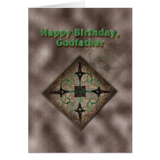 Anniversaire, parrain, Brown et art abstrait vert Carte De Vœux