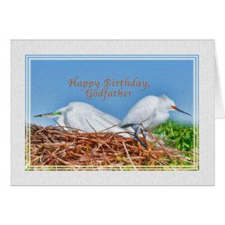 Anniversaire, parrain, deux hérons d'emboîtement carte de vœux