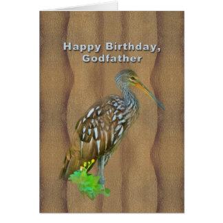 Anniversaire, parrain, oiseau de marais de Limpkin Carte De Vœux