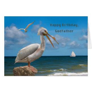 Anniversaire, parrain, pélican blanc sur une roche carte de vœux