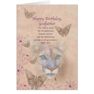 Anniversaire, parrain, puma et papillons carte de vœux