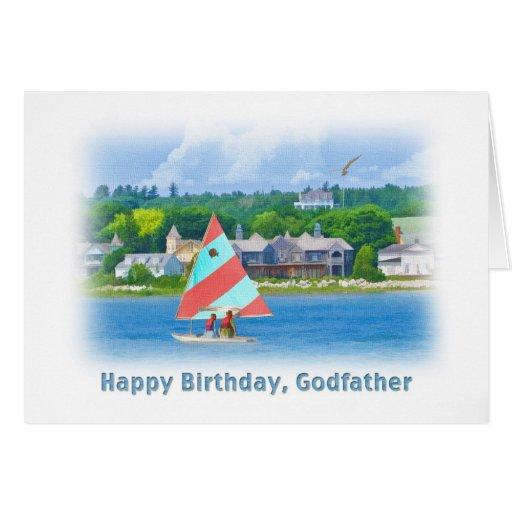 Anniversaire, parrain, voilier sur un lac, nautiqu cartes de vœux