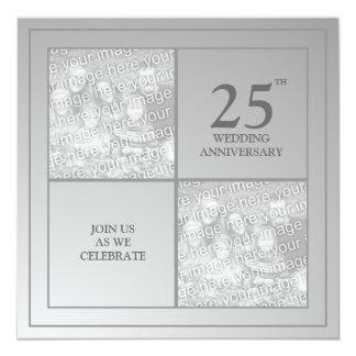 Anniversaire passé et présent d'argent de photo carton d'invitation  13,33 cm