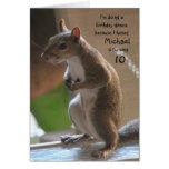 Anniversaire personnalisé de nom/âge, écureuil de  carte de vœux