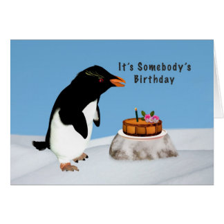 Anniversaire, pingouin humoristique et gâteau carte de vœux