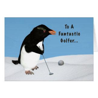 Anniversaire pingouin humoristique jouant au golf carte de vœux