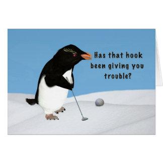 Anniversaire, pingouin humoristique jouant au golf carte de vœux