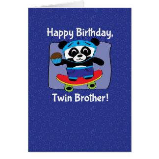 Anniversaire pour le frère jumeau - panda sur la p cartes de vœux
