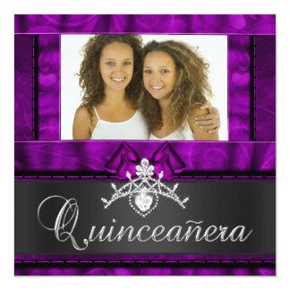 Anniversaire pourpre de Quinceanera de filles de Carton D'invitation 13,33 Cm