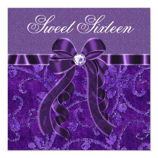 Anniversaire pourpre de sweet sixteen de faire-part personnalisables