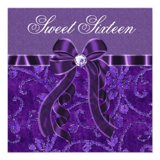 Anniversaire pourpre de sweet sixteen de scintille faire-part personnalisables