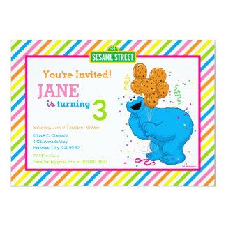 Anniversaire rayé de monstre de biscuit carton d'invitation  12,7 cm x 17,78 cm