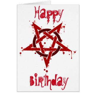 Anniversaire repéré satanique rouge de pentagone carte de vœux