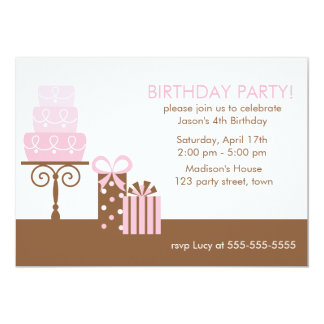 Anniversaire rose de gâteau et de présents carton d'invitation  12,7 cm x 17,78 cm