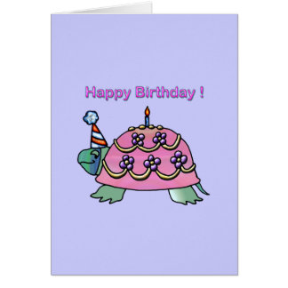 Anniversaire rose de la tortue 2 d'anniversaire cartes de vœux