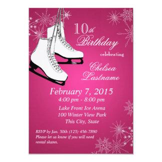 Anniversaire rose de patins et de flocons de neige carton d'invitation  12,7 cm x 17,78 cm