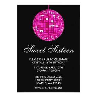 Anniversaire rose et noir de sweet sixteen de carton d'invitation  12,7 cm x 17,78 cm