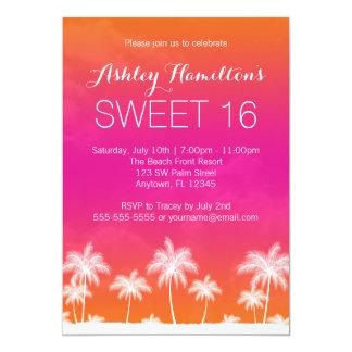 Anniversaire rose orange tropical du bonbon 16 carton d'invitation  12,7 cm x 17,78 cm
