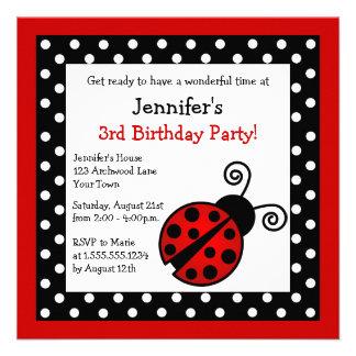 Anniversaire rouge de coccinelle - pois noir et bl invitation personnalisable