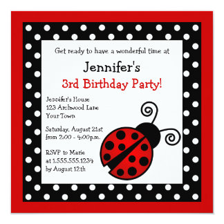 Anniversaire rouge de coccinelle - pois noir et invitation personnalisable