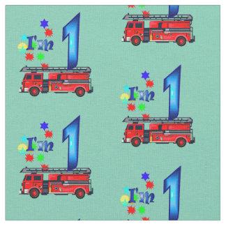 Anniversaire rouge d'enfants de pompe à incendie tissu