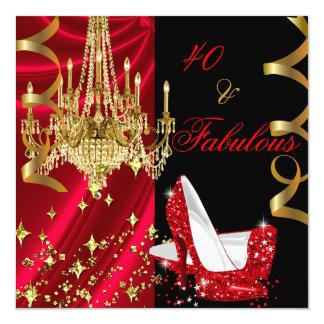 Anniversaire rouge fabuleux de lustre de 40 talons carton d'invitation  13,33 cm
