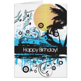 Anniversaire surfant grunge de surfer de plage carte de vœux