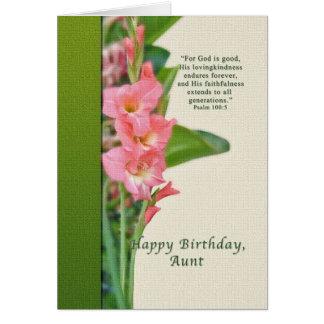 Anniversaire, tante, glaïeul rose cartes