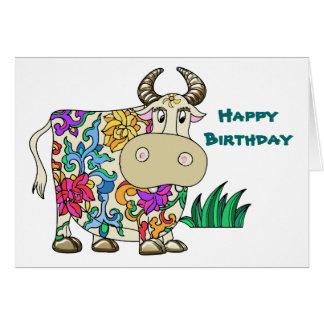 Anniversaire tatoué de vache carte de vœux