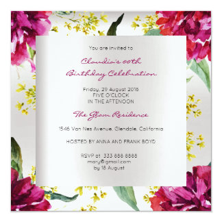 Anniversaire tropical argenté floral de pivoine de carton d'invitation  13,33 cm
