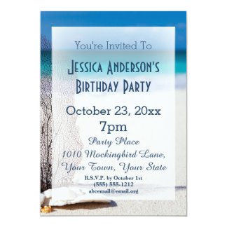 Anniversaire tropical bleu de coquillage de plage carton d'invitation  12,7 cm x 17,78 cm