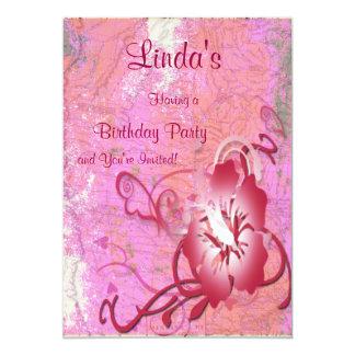 Anniversaire tropical de fleur carton d'invitation  12,7 cm x 17,78 cm