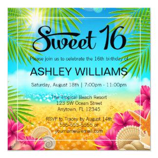 Anniversaire tropical du bonbon 16 à ketmie de carton d'invitation  13,33 cm