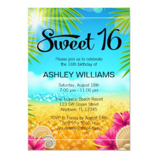 Anniversaire tropical du bonbon 16 à ketmie de carton d'invitation  12,7 cm x 17,78 cm