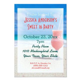 Anniversaire tropical du bonbon 16 à plage d'été carton d'invitation  12,7 cm x 17,78 cm