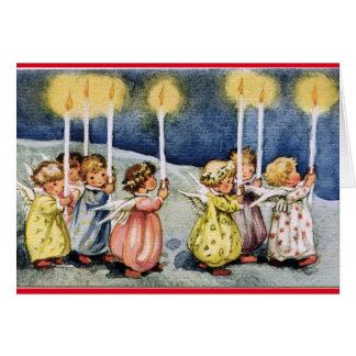 Anniversaire vintage d'anges carte de vœux