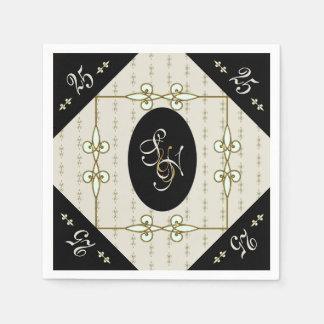 Anniversaire vintage d'argent de monogramme de serviette jetable