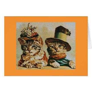 Anniversaire vintage de couples de chat carte de vœux