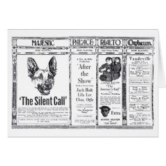 Annonce canine 1921 de film silencieux d'acteur de carte de vœux