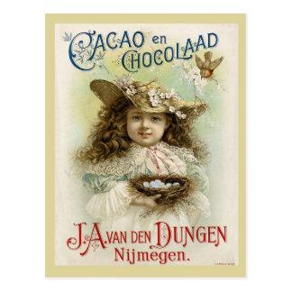 Annonce de chocolat avec le nid de petite fille et carte postale