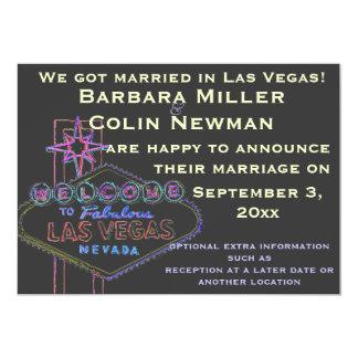 Annonce de notre mariage à Las Vegas Carton D'invitation 12,7 Cm X 17,78 Cm