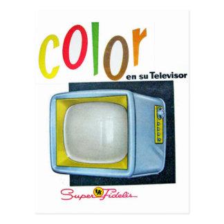 Annonce des années 60 de la couleur TV de kitsch Carte Postale