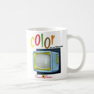 Annonce des années 60 de la couleur TV de kitsch d Mug Blanc